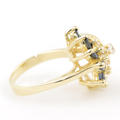 Vintage Womens 10K Yellow Gold Diamond Sapphire Right Hand Cocktail Ring