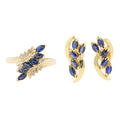Marvelous Blue Sapphire 14K Yellow Gold Diamond Jewelry Set