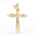 Beautiful 14K Yellow Gold Charm Cubic Zirconia Cross Pendant