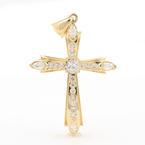 Beautiful 14K Yellow Gold Charm Cubic Zirconia Cross Pendant