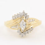 Fine Vintage Estate 10K Yellow Gold Diamond 0.65CTW  Ring Jewelry