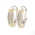 Contemporary Ladies 14k White Gold Diamond 0.25CTW Half Hoop Earrings Jewelry