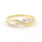 Modern 14K Yellow Gold Diamond 0.55CTW Anniversary Journey Right Hand Ring Band