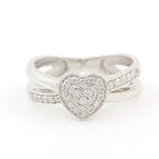Modern Estate Ladies 10K White Gold Diamond Heart Promise Right Hand Ring