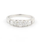 Scintillating Ladies 14K White Gold Diamond Three Stone Engagement Ring 1.00CTW
