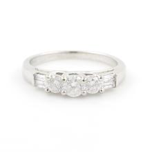 Scintillating Ladies 14K White Gold Diamond Three Stone Engagement Ring 1.00CTW