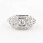 Exquisite Ladies Platinum Art Deco Diamond 0.55CTW Engagement Ring Jewelry