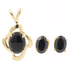 Elegant Ladies 14k Yellow Gold Black Onyx Pendant & Earrings Jewelry Set