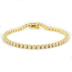 Classic Ladies Estate 14K Yellow Gold Diamond 3.85CTW Tennis Bracelet Jewelry