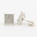 NEW Modern 14k White Gold Princess Cut Diamond 0.98CTW Studs Earrings Jewelry