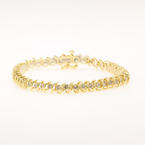 Classic Ladies Estate 14K Yellow Gold Diamond 3.10CTW Tennis Bracelet Jewelry
