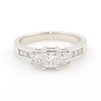 Modern Womens 14K White Gold Three Stone Diamond 0.95CTW Engagement Wedding Ring