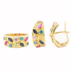Vintage Natural Gemstones 14K Yellow Gold Ladies Ring Earrings Set - 2.85CTW