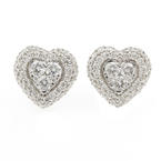 NEW Modern 14K White Gold Diamond 0.75CTW Heart Stud Push Back Earrings