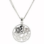 Charming Ladies 14K White Gold Flower Cut Out Disk Pendant and Chain Jewelry