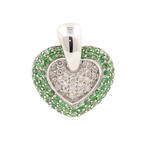 Modern Estate 14K White Gold Diamond Tourmaline Heart 1.78CTW Pendant