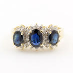 Fine Estate 14K Yellow Gold Diamond Blue Sapphire Right Hand Ring