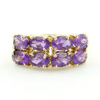 Retro 14K Yellow Gold Oval Cut Purple Amethyst Gemstone Cocktail Ring