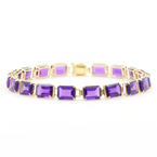 "Retro Vintage Estate 14K Yellow Gold Purple Emerald Cut Gemstone 7"" Bracelet"