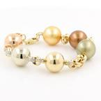 "Vintage Estate 14K White Yellow Rose Gold Cultured Pearl Diamond 7"" Bracelet"