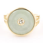 Vintage Classic 14K Yellow Gold Jade Cocktail Ring Size 7