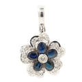 NEW Modern 14K White Gold London Blue Topaz Diamond Pendant Jewelry