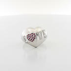 Authentic CHOPARD Puffed Heart Round Diamond Pink Sapphire 18K Gold LOVE Ring