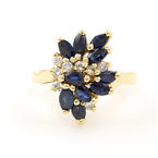 Fine Vintage 14K Yellow Gold Blue Spinel Diamond Gem Right Hand Ring