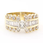 Estate 14K Yellow Gold Diamond Princess Cut Engagement Wedding Anniversary Ring