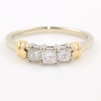 NEW Modern 14K White Gold Three Stone Princess Cut Diamonds 0.50CTW Engagement Ring