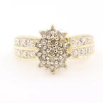 Vintage 10K Yellow Gold Diamond 0.25CTW Cluster Right Hand Ring