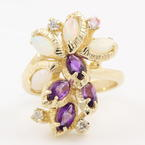 Retro Vintage 14K Yellow Gold Amethyst Opal Diamond Right Hand Cocktail Ring
