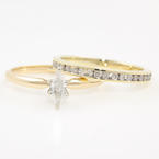 Vintage Estate 14K Yellow Gold Marquise Cut Diamond Solitaire 10K Yellow Gold Ring Band Set