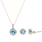 Modern 10K White Gold Blue Topaz Diamond Ring Necklace Pendant Jewelry Set - NEW