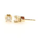Classic 14K Yellow Gold Princess Cut Diamond 0.40CTW Push Back Earrings