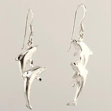 Vintage 925 Silver 45MM Dolphin Fish Hook Drop Earrings