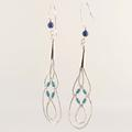 Vintage 925 Silver 90MM Drop Blue Bead Earrings