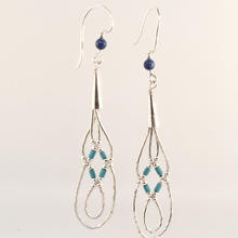 Beautiful Vintage Ladies 925 Silver Drop Blue Bead Earrings - 90MM