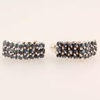 Estate 925 Silver  Blue Spinel Push Back Earrings