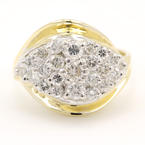 Classic Estate 14K Yellow Gold Diamond 0.90CTW Cluster Cocktail Right Hand Ring