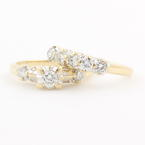 Estate Vintage 14K Yellow Gold Diamond 0.85CTW Wedding Ring Duo Set