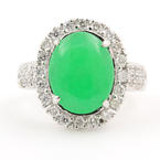 Retro 14K White Gold Jade Cabochon Diamond 3.50CTW Right Hand Cocktail Ring