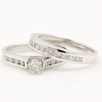 NEW Classic Modern 14K White Diamond Wedding Ring Bridal Duo Set