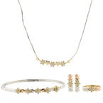 Stunning Retro 14k Diamond Tricolor Necklace Ring Earrings Bangle Jewelry Set