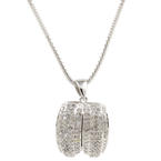Exquisite Ladies Estate 14K White Gold Pendant 18K Chain Jewelry