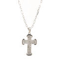 "Modern Estate 14K White Gold Diamond 0.25CTW Cross Pendant 21"" Link Chain"