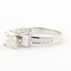 Exquisite Ladies 18K White Gold Princess Cut 1.55CTW  Diamond Engagement Ring Jewelry