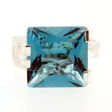 Modern Estate Sterling Silver 925 Blue Cocktail Size 7 Ring