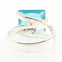 Modern Estate Sterling Silver 925 Blue Cocktail Size 7 Ring