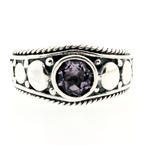 Modern Estate Sterling Silver 925 Lilac Purple Amethyst Cocktail Size 7.25 Ring Band